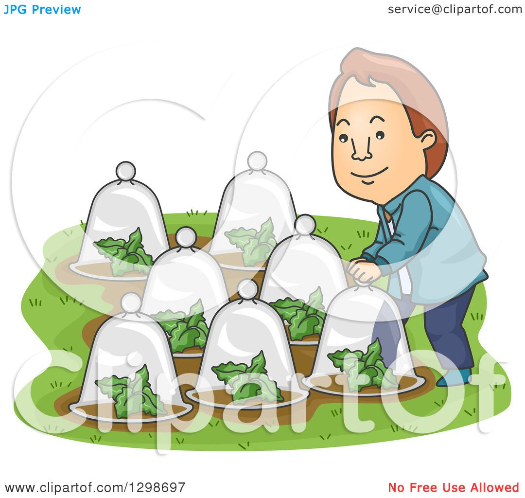 Clipart of a Cartoon Brunette White Man Putting Glass Dome Cloches.