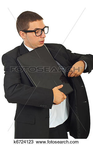 Stock Photo of Dumb business man put laptop in jacket k6724123.