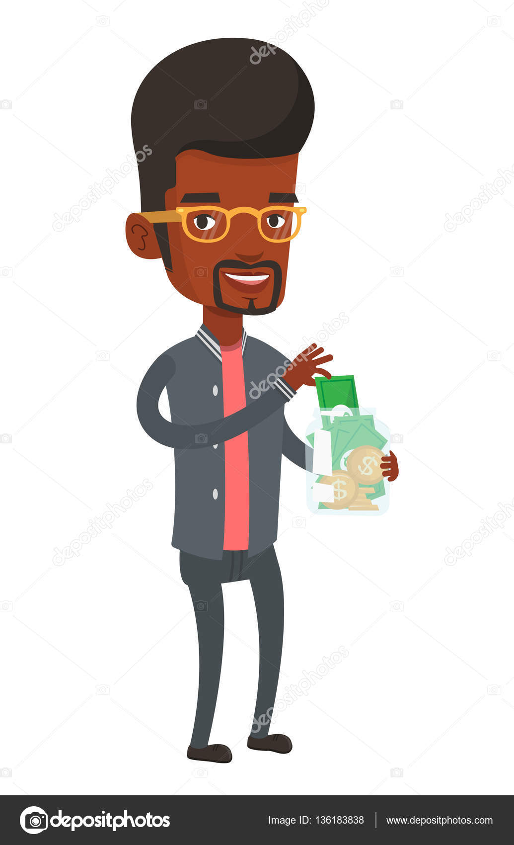 Man putting dollar money into glass jar. — Stock Vector © rastudio.