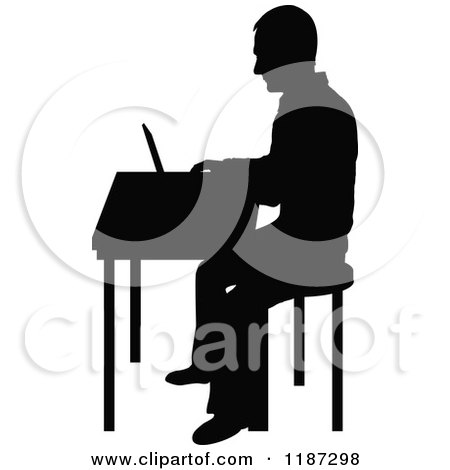 Cartoon of a Black Silhouetted Man Working on a Laptop at a Desk.