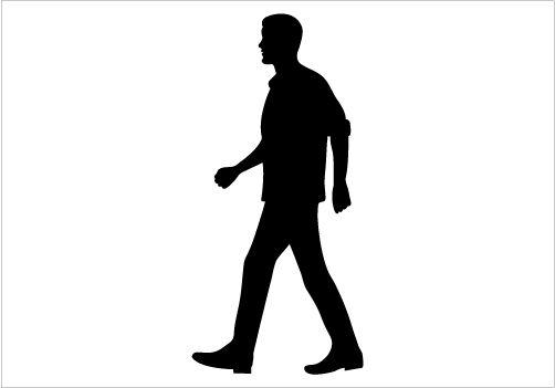 Man Walking Silhouette Graphics.