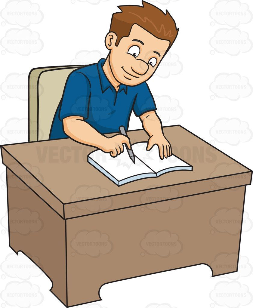 A man writing on his journal #cartoon #clipart #vector.