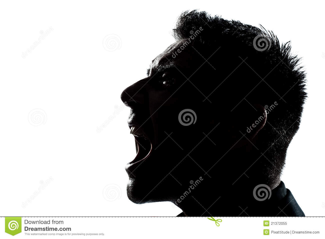Silhouette Man Portrait Profile Screaming Angry Royalty Free Stock.