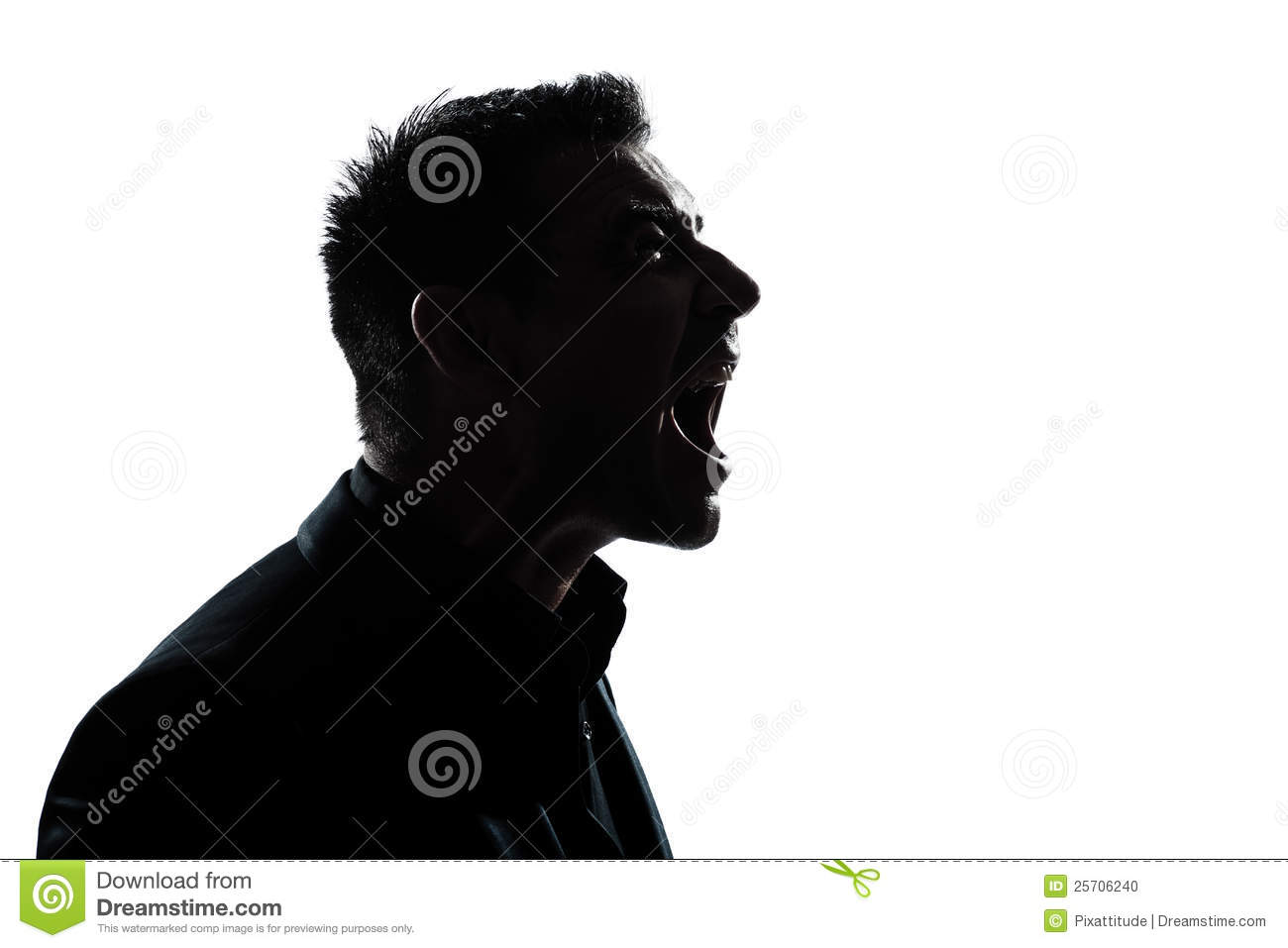 Man Yelling In A Megaphone Stock Photo.