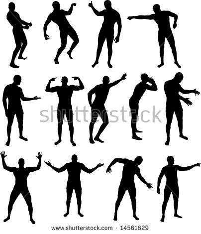 Vector Illustration Set Dancing Man Silhouettes Stock Vector.