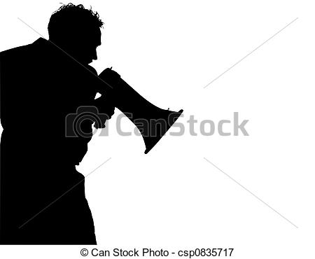 Stock Illustrations of Silhouette of man yelling.