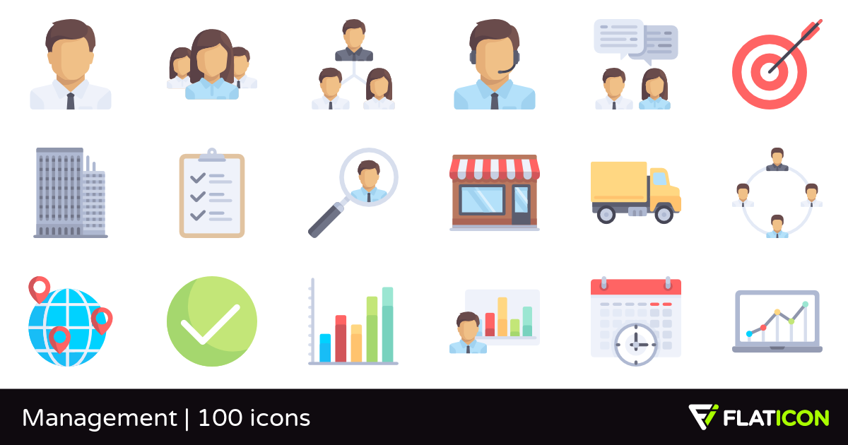 Management 100 free icons (SVG, EPS, PSD, PNG files).