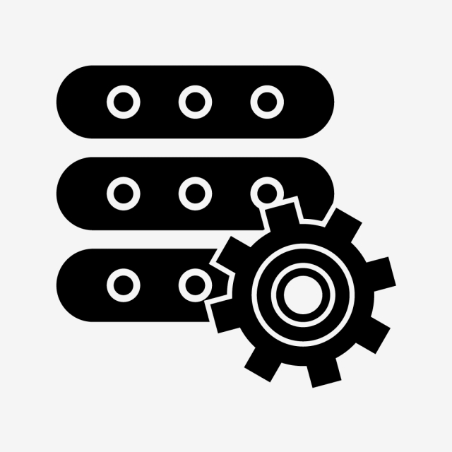 Manage Data Glyph Black Icon, Configuration, Settings.