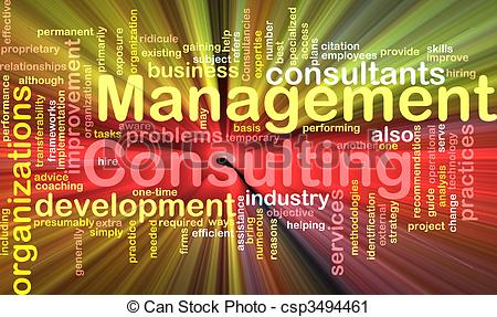 Clipart of Management consulting word cloud glowing.
