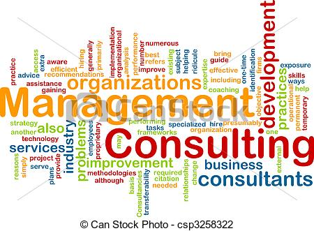 Clip Art of Management consulting word cloud.