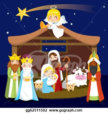 combo nativity digital clip. to jesus in christmas nativity.