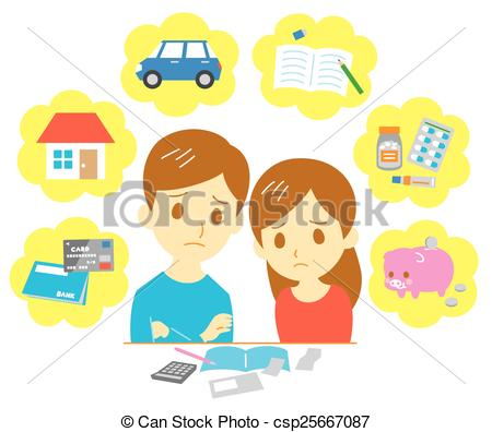 Vector of Managing family finances, couple.