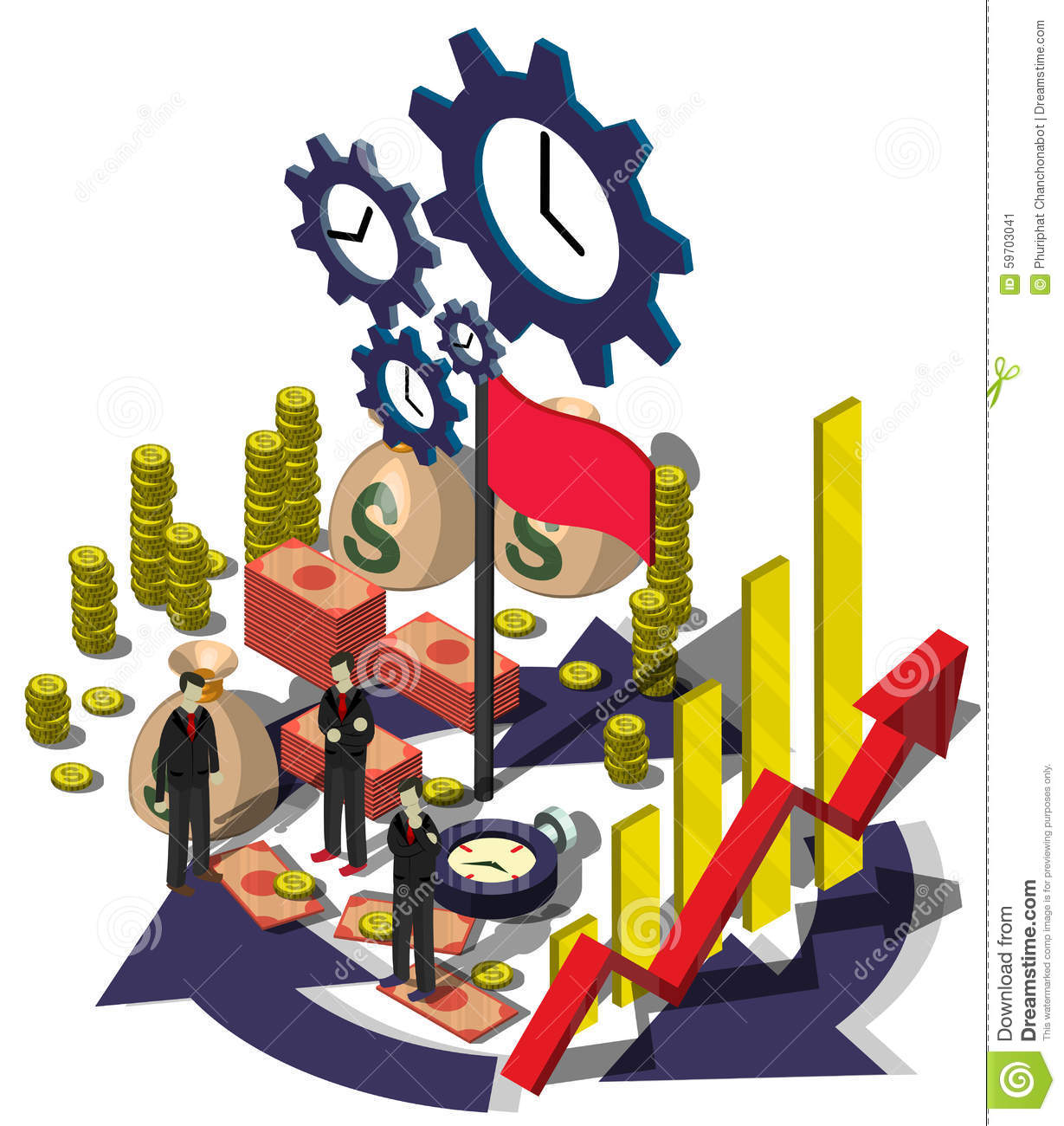 Illustration Of Info Graphic Money Management Concept Stock Vector.