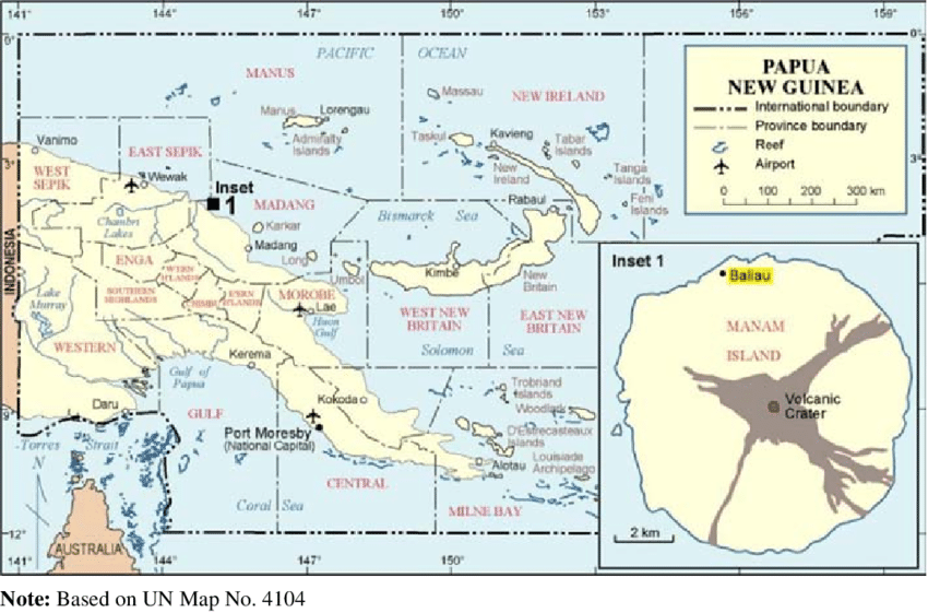 Map showing the location of Baliau village and Manam Island.