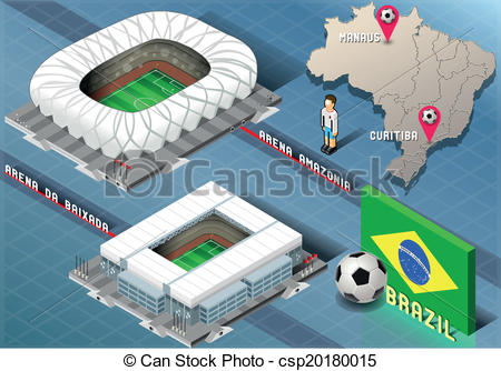 Vector Clip Art of Isometric Stadium of Manaus and Curitiba.