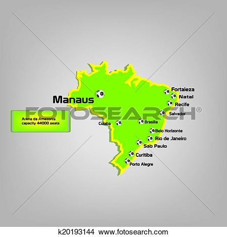 Clipart of manaus stadium map location k20193144.