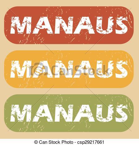 Clip Art Vector of Vintage Manaus stamp set.