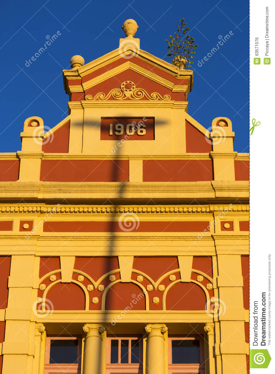 Colored Colonial Architecture In Manaus, Brazil Stock Photo.