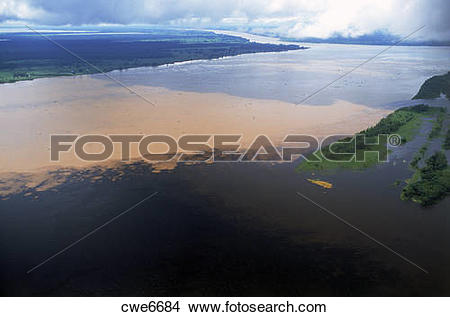 Stock Photo of Black colored waters of the Rio Negro meet the.