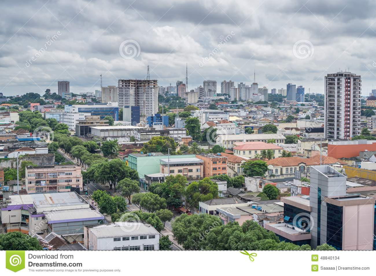 Colorful Houses, Cloudy Sky In Manaus, Brazil Stock Photo.