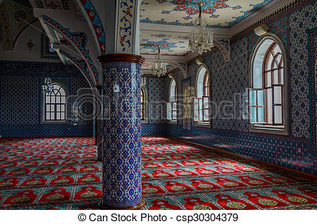 Picture of The interior of the majestic mosque at Manavgat in.