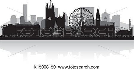 Clipart of Manchester city skyline silhouette k15008150.
