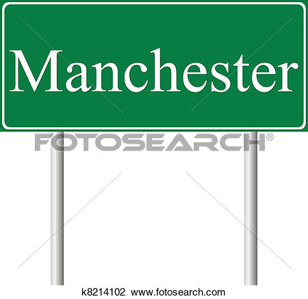 Clipart of Manchester green road sign k8214102.
