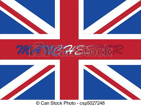 Vector of manchester with UK flag.
