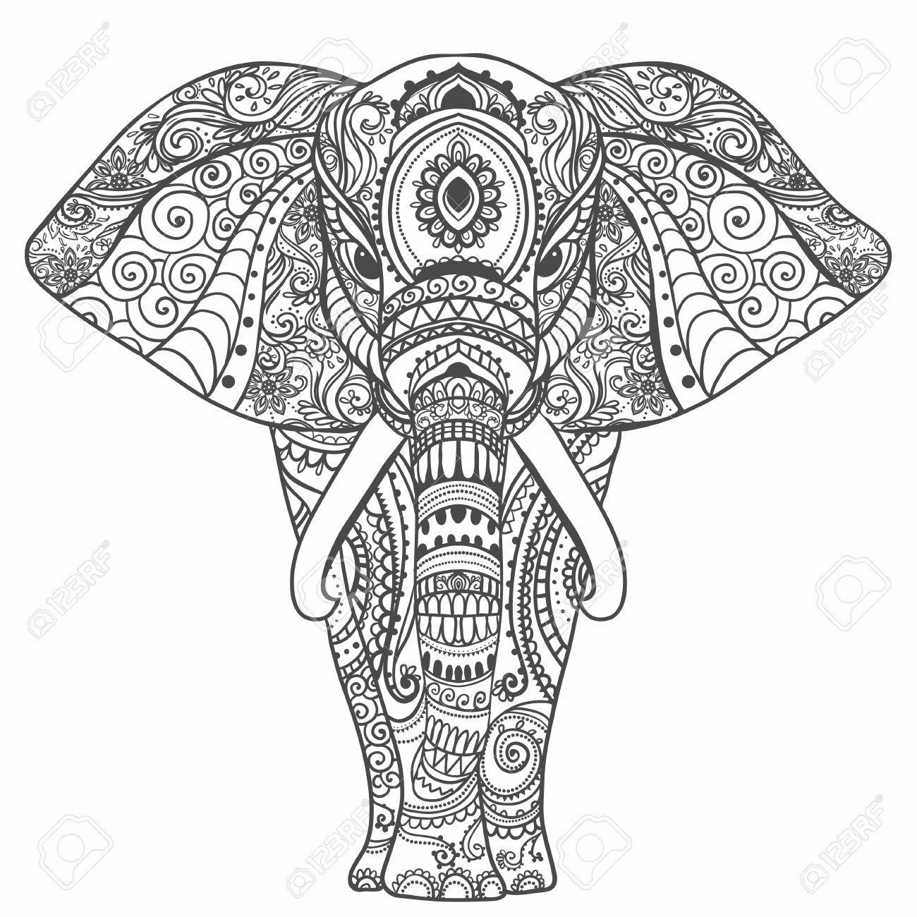 Gruß Schöne Karte Mit Elefant. Frame Of Animal Gemacht In Vektor.