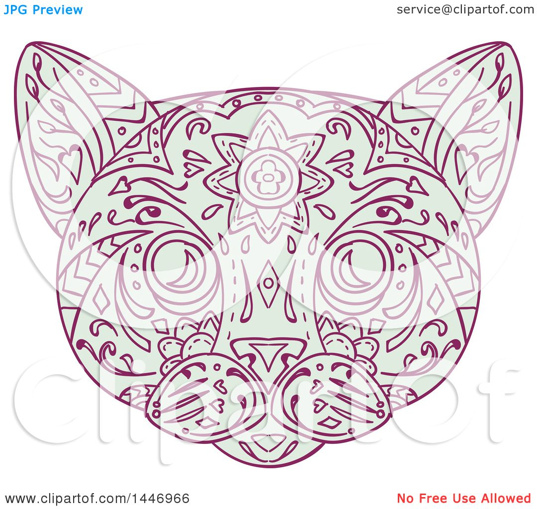 Clipart of a Sketched Mandala Styled Cat Face.