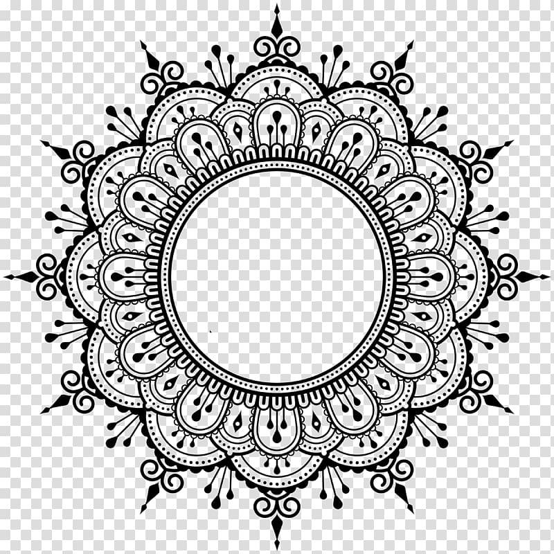 Mehndi Henna Mandala, design transparent background PNG.