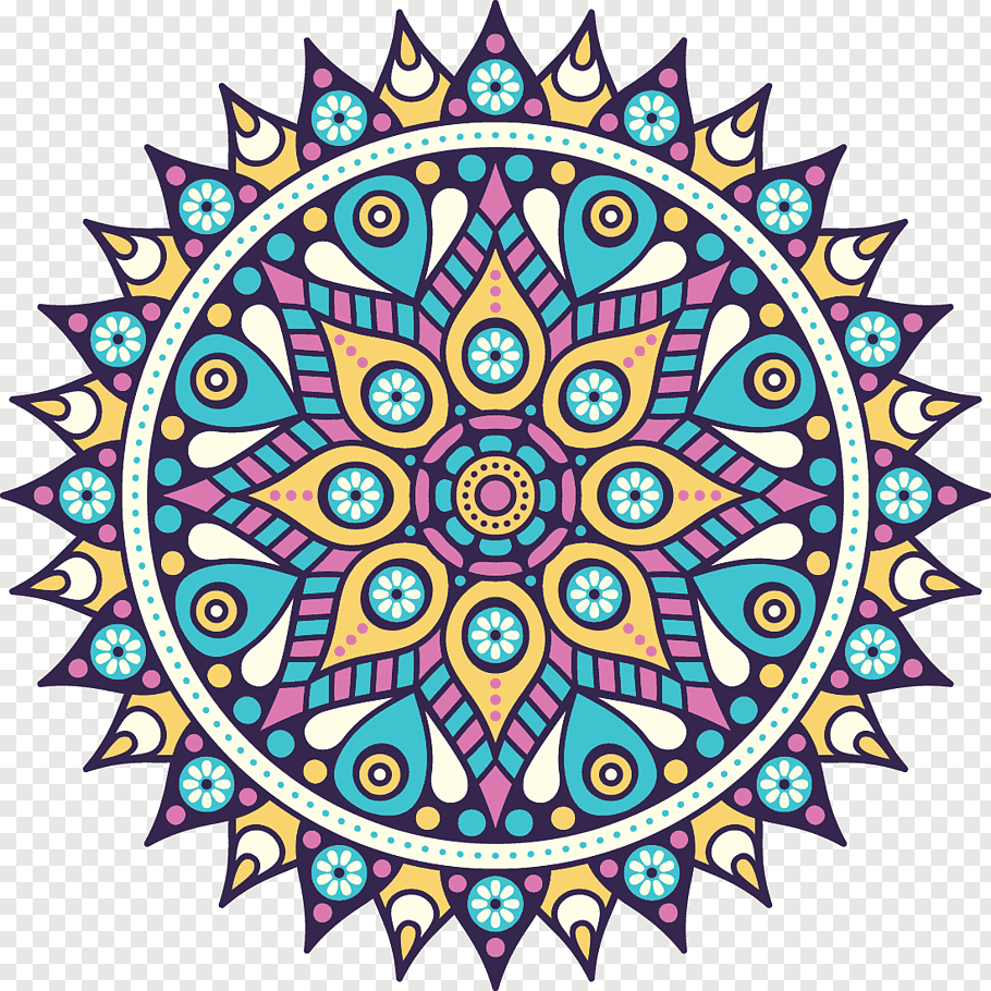 Multicolored mandala sun, Mandala Buddhism Icon.
