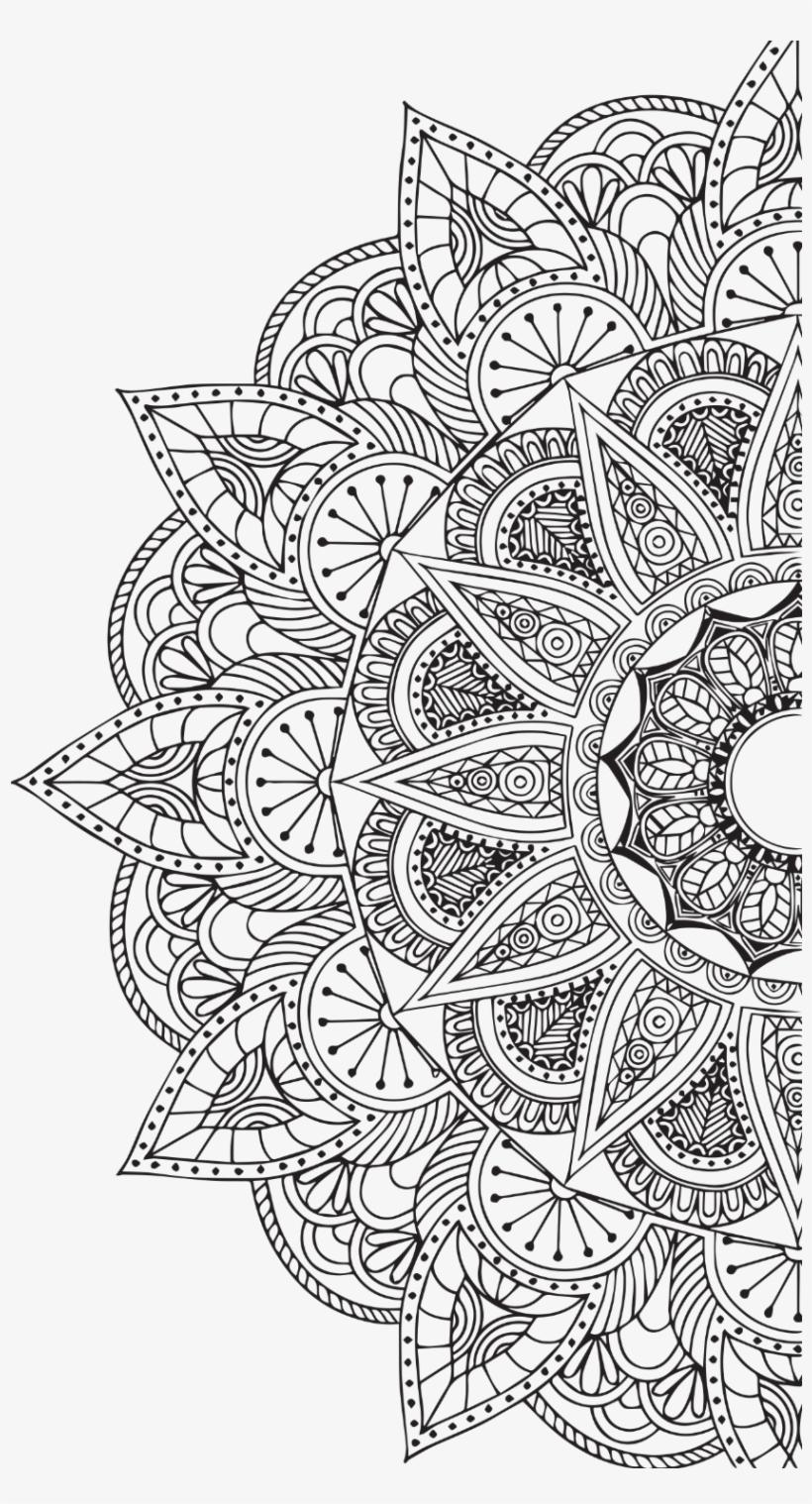 Mandala White Png Vector Black And White.