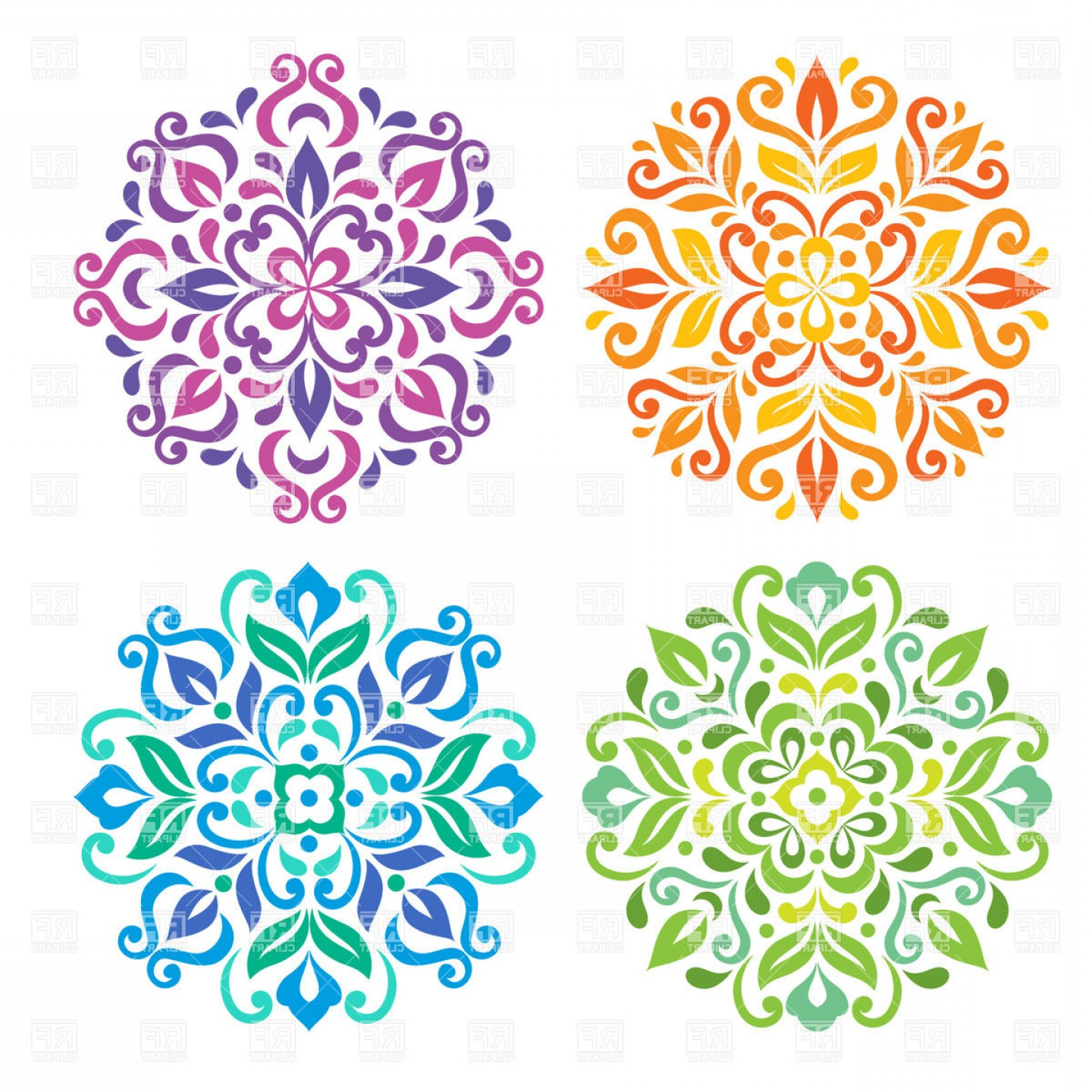 Colorful Round Floral Mandalas Vector Clipart.