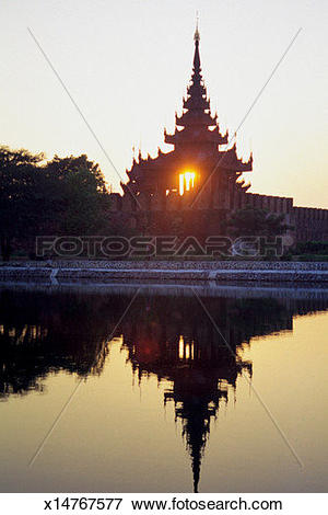 Picture of Reflection of King Mindon Royal Palace in water.