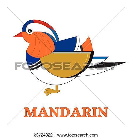 Clipart of Mandarin Duck Geometric Line Icon k37243221.