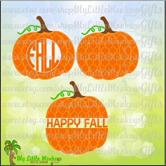 Quatrefoil Pumpkin Monogram Base and Split by MyLittleMonkeysGifts.