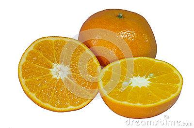 Orange Split On Half Stock Photos.
