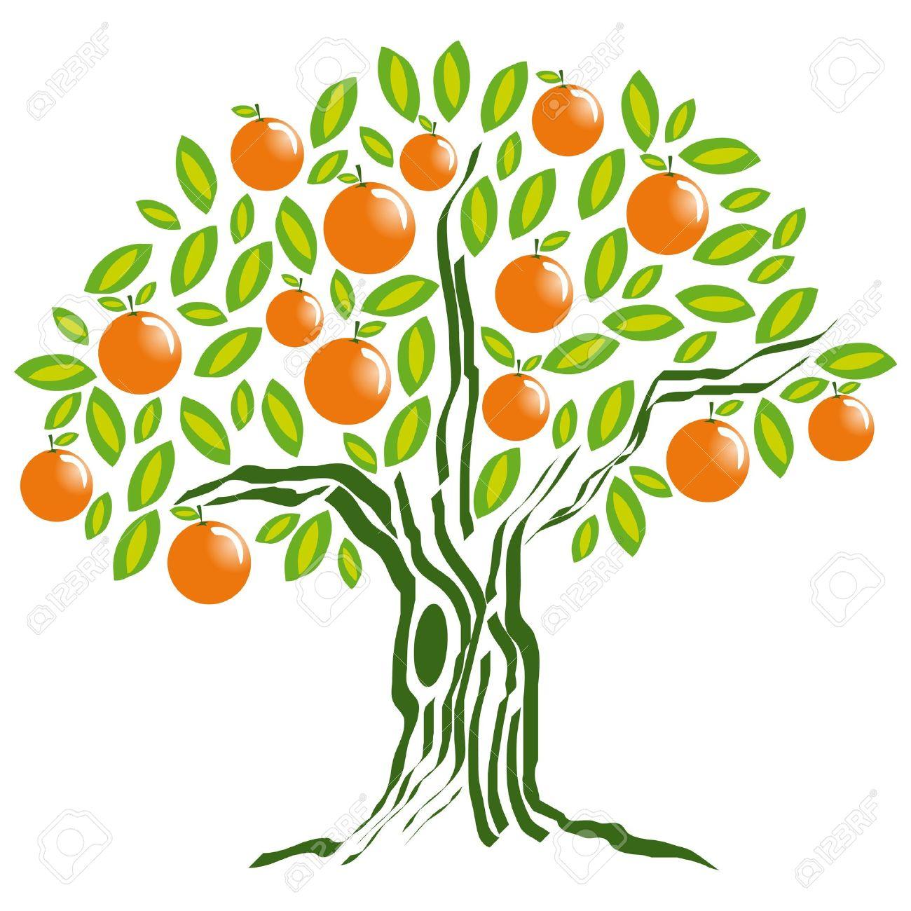 Tangerine tree clipart.