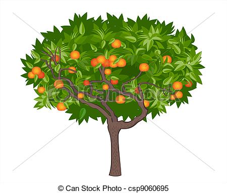 Clipart Vector of Mandarin tree.