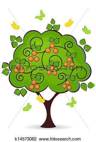 Clipart of mandarin tree k14573082.