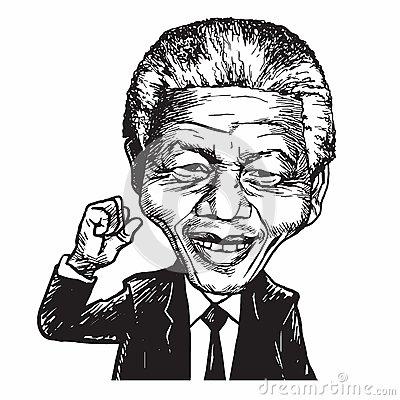 Nelson Mandela Cartoon Caricature Vector Illustration Editorial.