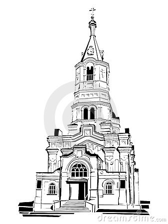 Church Blueprint Stock Illustrations.