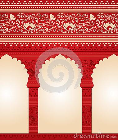 Henna Temple Gate Design Stock Vector.