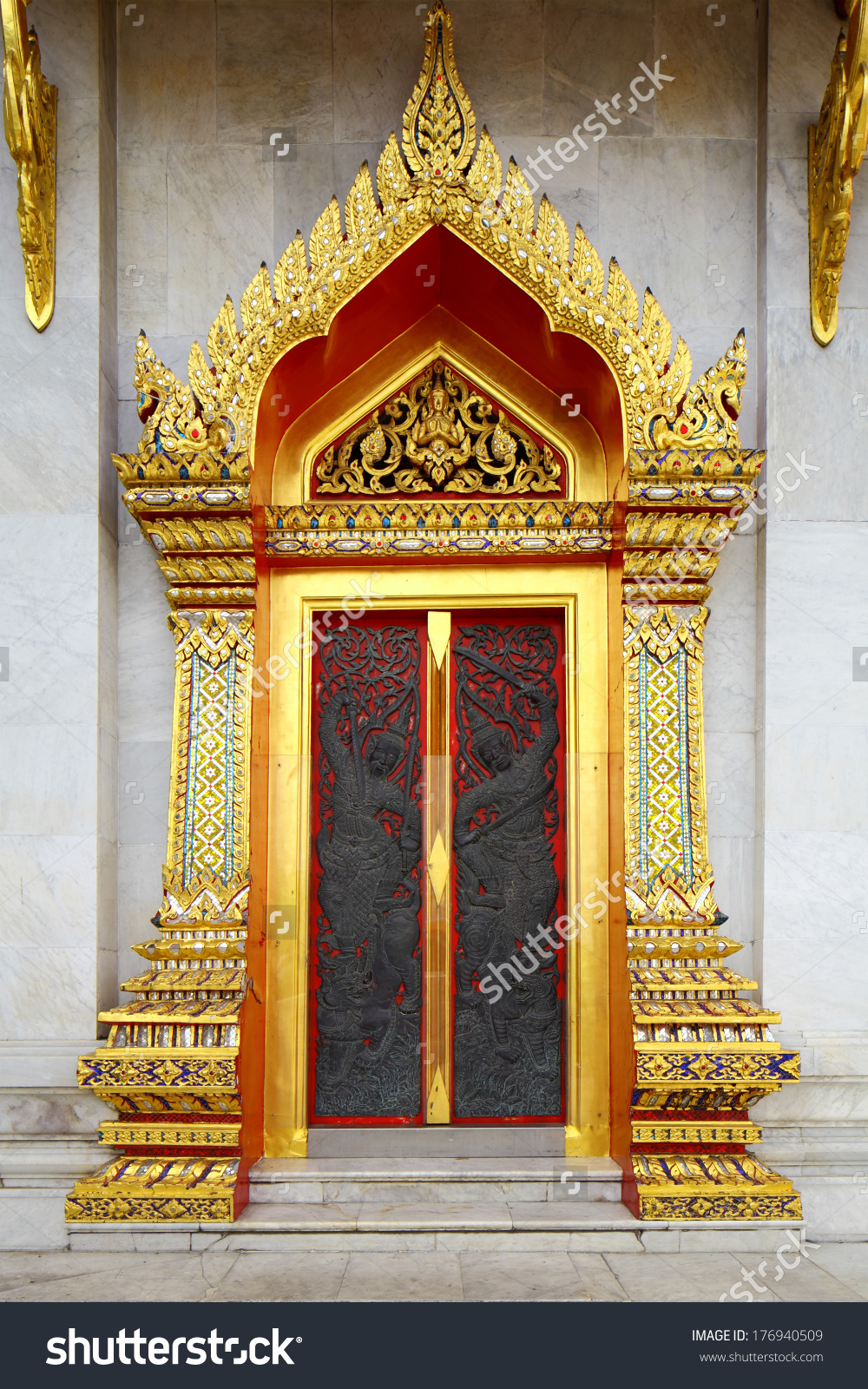 Thailand Temple Entrance Stock Photo 176940509.