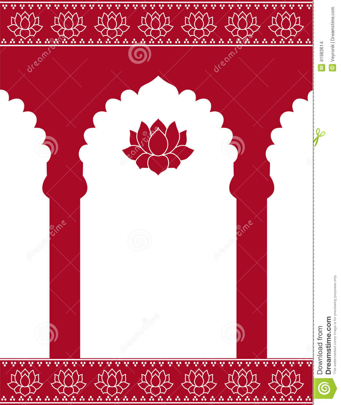 Red Indian Gate Background Stock Vector.