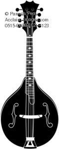 Clip Art Illustration of a Mandolin Silhouette.