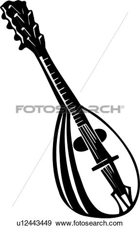 Clip Art of , instrument, mandolin, music, musical, u12443449.
