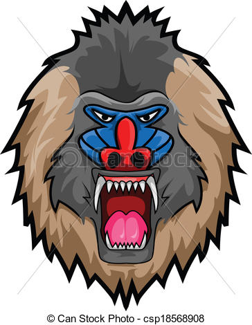 Vector Clipart of Mandril Monkey csp18568908.