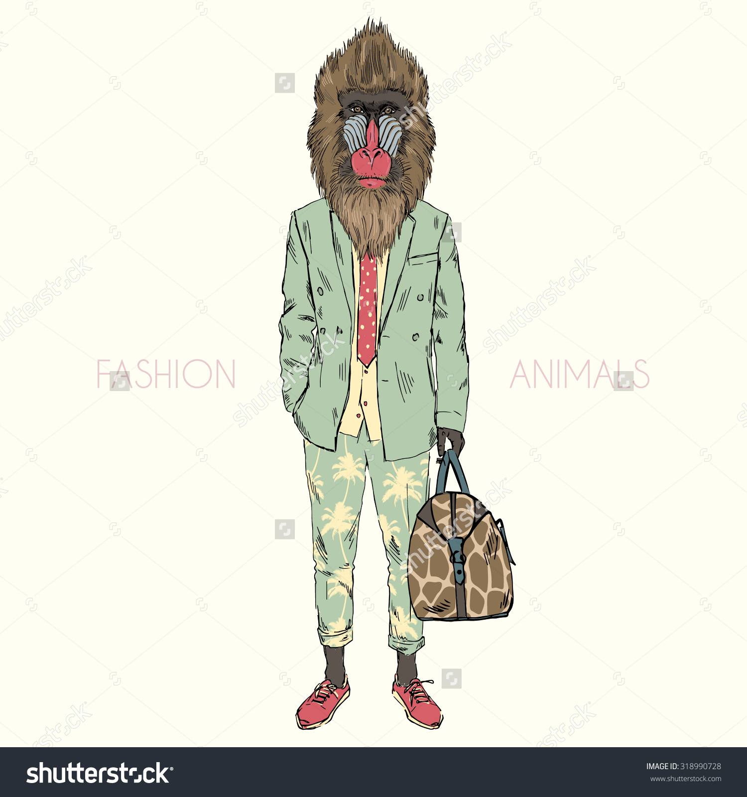 Mandrillus Sphinx Monkey Dressed Cool Urban Stock Vector 318990728.